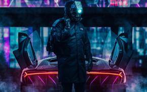 Картинка Робот, Неон, Car, Fantasy, Art, Robot, Neon, Киборг, Cyborg, Cyberpunk, Transport & Vehicles, by Ilya …