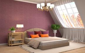 Обои дизайн, дом, кровать, интерьер, окно, люстра, спальня