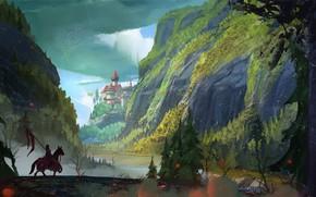 Картинка Горы, Лошадь, Рисунок, Река, Замок, Конь, Король, Art, Рыцарь, Castle, Mountains, Rider, River, Knight, Всадник, …