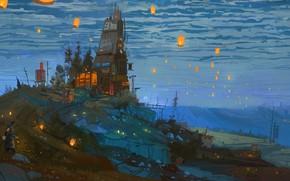 Картинка дорога, столбы, провода, холм, фонари, сумерки, синее небо, деревянный домик, водокачка, by Ismail Inceoglu