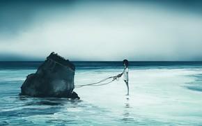 Картинка море, девочка, прикована, обломок