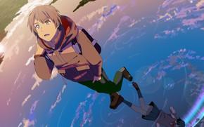 Картинка вода, девушка, отражение, аниме, арт, парень, Kimi no Na wa, Твоё имя