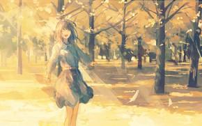 Картинка осень, девушка, радость, парк