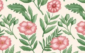Картинка цветы, ретро, узор, винтаж