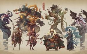 Картинка Monsters, Персонажи, Art, Hua Lu, Доспехи, Warriors, Japan, Стиль, War, Арт, Warrior, Style, Character, Fiction, …
