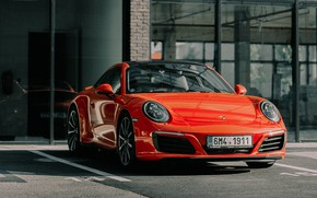 Картинка красный, отражение, фары, спорткар, porsche, вид спереди, porsche 911