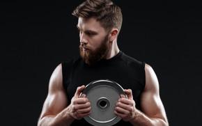 Картинка pose, beard, weight disc