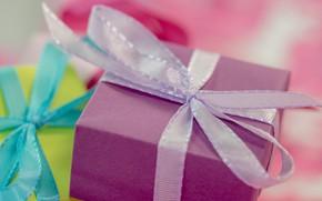 Картинка праздник, коробка, подарок, лента, подарки, бантики, бант, сиреневая, коробки, банты