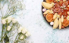 Картинка цветы, розы, выпечка, восточные сладости