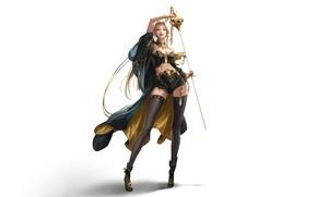 Картинка Девушка, Минимализм, Блондинка, Стиль, Girl, Фон, Арт, Art, Style, Blonde, Background, Minimalism, Blade, Шпага, Клинок, …