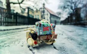 Картинка зима, город, улица, подарки