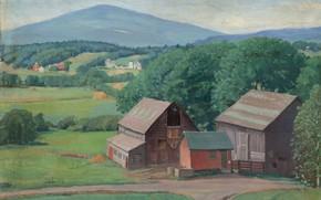 Картинка пейзаж, дом, картина, Karl Albert Buehr, Карл Альберт Бюр, Вермонтская Ферма