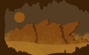 Картинка горы, скалы, пустыня, странник