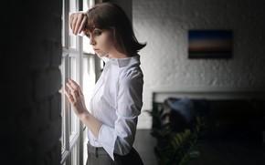 Картинка поза, комната, модель, юбка, макияж, прическа, блузка, шатенка, стоит, красивая, боке, у окна, Sergey Fat, …