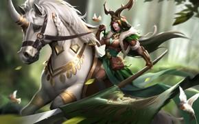 Картинка Spear, Art, Horsewoman, CHONGLINYESHOU, by LU PIPI, LU PIPI, Девушка, Стиль, Копьё, Арт, Unicorn, Style, …