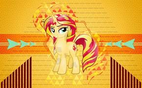 Картинка жёлтый, фон, мультфильм, пони, My Little Pony