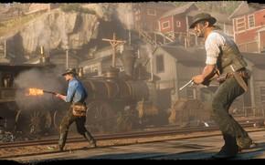 Картинка рельсы, поезд, шляпа, револьвер, Rockstar, Бандит, Red Dead Redemption 2, Arthur Morgan