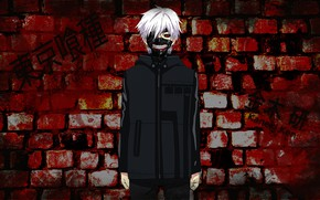 Картинка стена, парень, Tokyo Ghoul, Токийский Гуль, Канеки Кен