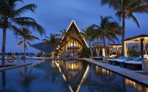 Картинка пальмы, океан, вечер, бассейн, курорт, Maldives, Jumeirah Vittavelli