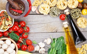 Картинка грибы, масло, перец, овощи, помидоры, макароны