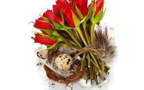 Картинка праздник, розы, Пасха, корзинка, композиция, eggs, Natalia Klenova