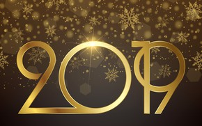 Картинка золото, Новый Год, цифры, golden, background, New Year, Happy, sparkle, 2019