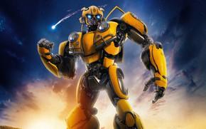 Картинка Робот, Глаза, Фары, Жёлтый, Механизм, Стоит, Bumblebee, Шмель, Трансформер, БамблБи