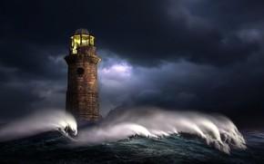 Картинка море, волны, свет, ночь, тучи, шторм, графика, маяк, digital art, nikos Bantouvakis