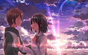 Картинка девушка, закат, аниме, арт, парень, двое, Kimi no Na wa