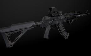 Картинка рендеринг, оружие, gun, weapon, render, custom, Калашников, штурмовая винтовка, assault Rifle, Kalashnikov, акм, akm