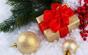 Картинка снег, подарок, шары, Новый Год, Рождество, Christmas, balls, snow, New Year, gift, decoration, Happy, Merry, …