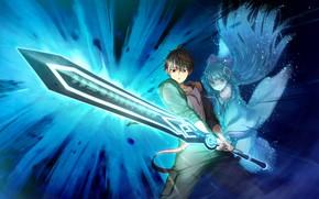 Картинка девушка, меч, парень, anime, art, Deep One, gsmes