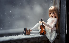 Картинка настроение, скрипка, кукла, окно