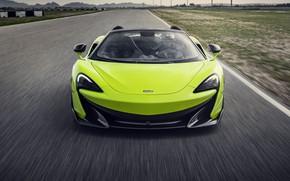 Картинка McLaren, суперкар, вид спереди, Spider, 2019, 600LT, Lime Green