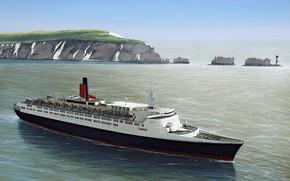 Картинка sea, art, painting, ship