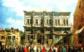Картинка картина, городской пейзаж, Canaletto, Каналетто, Giovanni Antonio Canal, Праздник Святого Роха