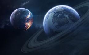Картинка Планета, Космос, Планеты, Planets, Кольцо, Арт, Space, Art, Кольца, Спутник, Planet, Universe, Galaxy, Rings, Фантастика, …