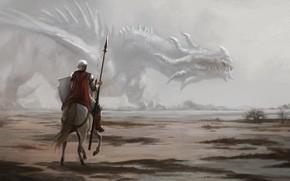 Картинка дракон, лошадь, воин, копьё