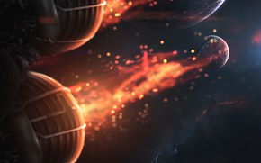 Картинка Огонь, Планета, Космос, Туманность, Планеты, Искры, Двигатель, Пламя, Planets, Fire, Арт, Space, Art, Спутник, Flame, …