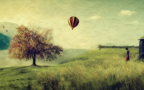 Картинка поле, девушка, воздушный шар, дерево, шар