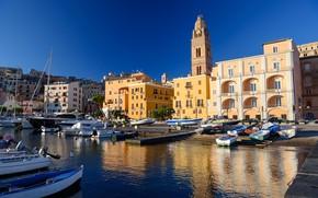 Картинка дома, порт, Италия, колокольня, Гаэта