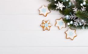 Картинка украшения, Новый Год, печенье, Рождество, Christmas, wood, New Year, cookies, decoration, Merry, fir tree, ветки …