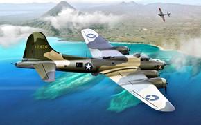 Картинка B-17, Flying Fortress, WWII, Ki-43, B-17E, JAAF, Тихоокеанский театр военных действий