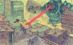 Картинка Город, Робот, Роботы, Разрушения, Fantasy, Арт, Art, Robot, Robots, Фантастика, Киборг, Атака, Sci-Fi, Киберпанк, Луч, …
