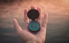 Картинка рука, компас, направление, стороны света