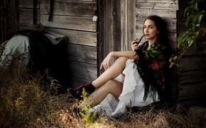 Картинка Девушка, платок, курительная трубка, Ann Nevreva