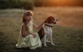 Картинка собака, платье, девочка, друзья, бигль, Марина Еленчук