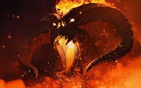 Картинка Огонь, Монстр, Властелин Колец, Пламя, Демон, Fantasy, Балрог, Monster, Арт, The Lord of the Rings, …