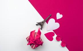 Картинка подарок, свечи, сердечки, Эйфелева башня, Романтика