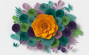 Картинка цветы, flowers, рендеринг, floral, композиция, composition, colorful, paper, rendering, узор